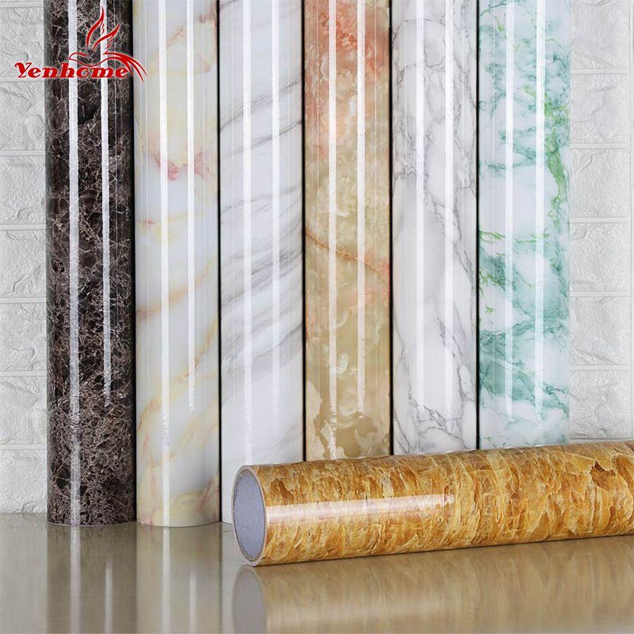 3 M/5 M/10 M autocollants en marbre imperméable PVC auto-adhésif papier peint pour cuisine placard comptoir Table Stickers muraux décor à la maison