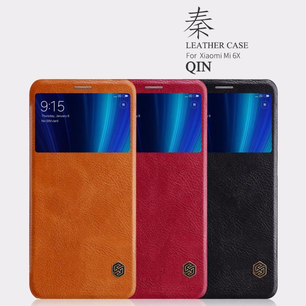 Xiaomi mi5 mi 5s mi 6x étui Nillkin série QIN étui à rabat en cuir Smart fenêtre fonction de sommeil étui pour xiaomi mi 5 5s mi 6x