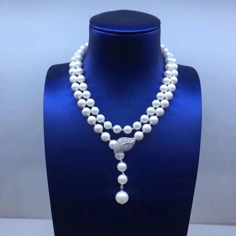 Sinya Pullover kette Runde naturperlen strand lange halskette für Frauen Mädchen Mama liebhaber neueste geschenk doppelstock Perle chocker