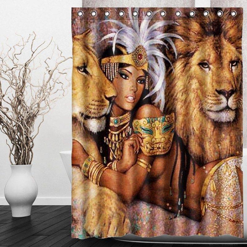 CHAUDE!!! 150X180 cm Animaux Belle Femme Africaine Avec Lions Imperméable Salle De Bains Rideau De Douche De Mariage Cadeau Décor à la maison