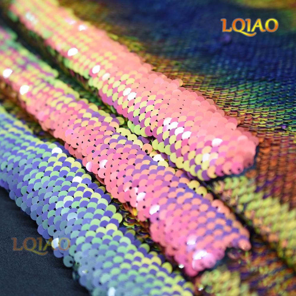 Nouveau Sirène Poissons Échelle Réversible Sequin Tissu Brodé Irisé Arc-En-/Or Tissu pour la Robe De Mariage DIY craft couture