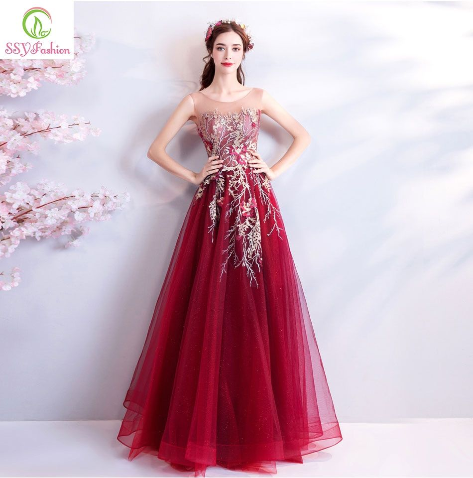 SSYFashion New Elegant Evening Dress Wine Red Sleeveless Floor-length Lace Embroiery Beading Prom Party Gown Robe De Soiree