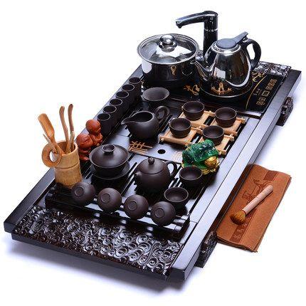 Wohnzimmer Lila Ton Kung Fu tee-set Tee tablett induktion herd vier in einem Puer Teekanne Keramik teetasse Solide holz tee tisch