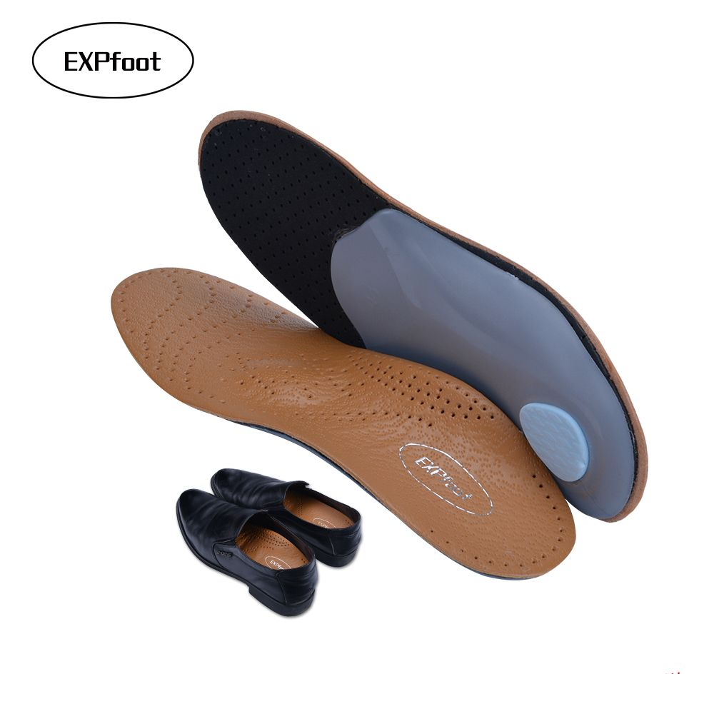 3D Premium healthy Leather orthotic insole for Flatfoot High Arch <font><b>Support</b></font> Insoles Silicone Insoles men and women leather shoes