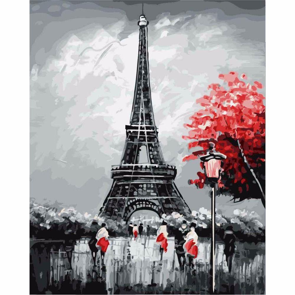 DEYI 40*50 cm París Torre Eiffel Modular Imagen tigre Pintura Por números en la Lona DIY dibujo para colorear por números en el pared