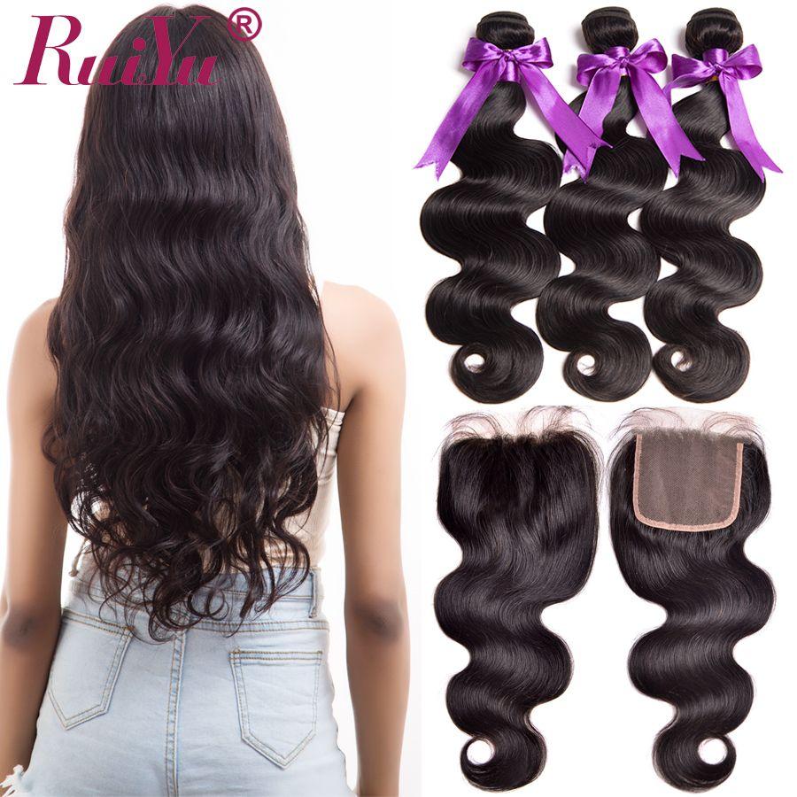 RUIYU Hair Human Hair Bundles With Closure Body <font><b>Wave</b></font> Brazilian Hair Weave 3 Bundles With Closure Non Remy Hair Extensions