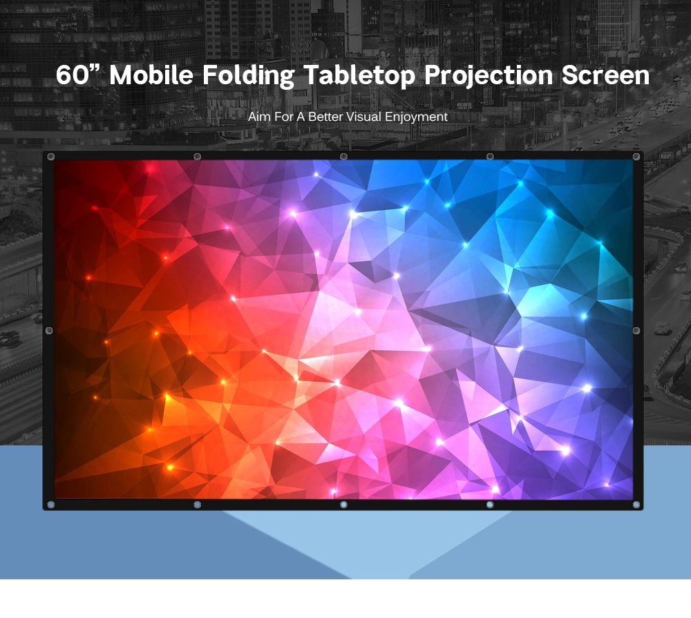 Projector Screen 60Inch Portable Tabletop Foldable PVC Screen 3D Glasses Home Theater COOLUX YG300 XGIMI JMGO AUN