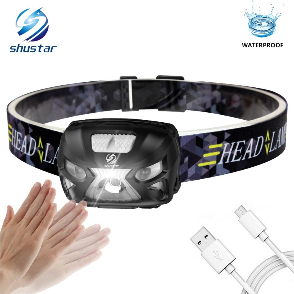 Rechargeable LED headlamp Sensor switch headlight 3000 lumens Super bright 4 lighting modes fishing headlamp with USB cable