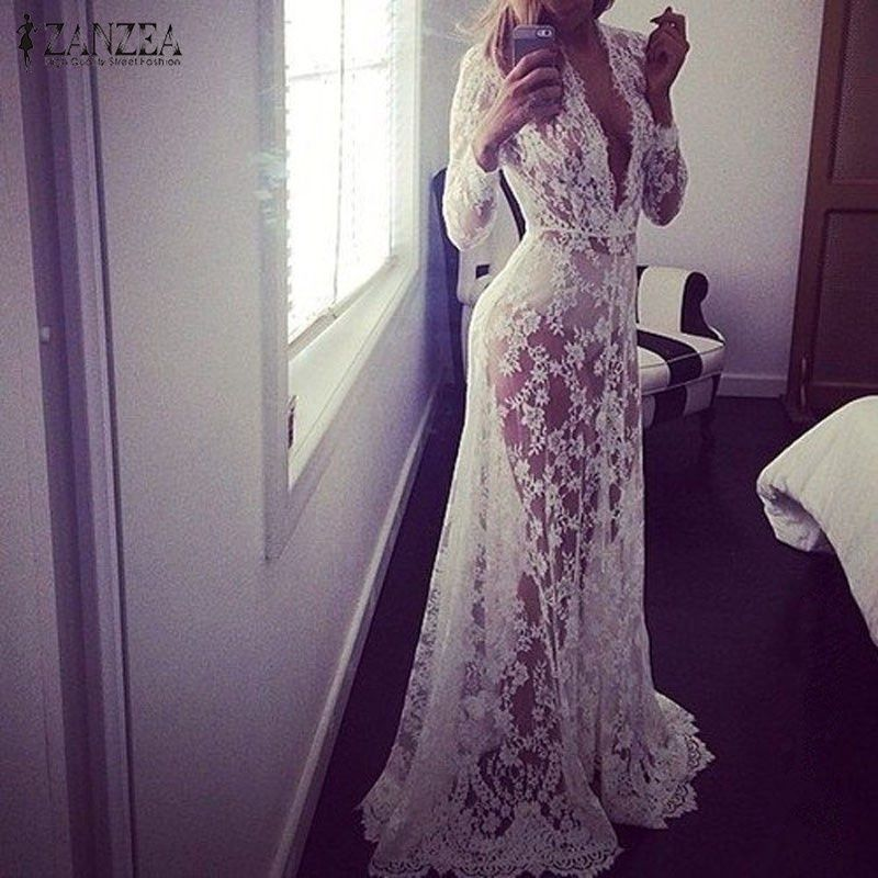 2018 Summer European Style Womens Sexy Lace Embroidery Maxi Solid <font><b>White</b></font> Dress Long Sleeve Deep V Neck Vestidos Plus Size S-XL