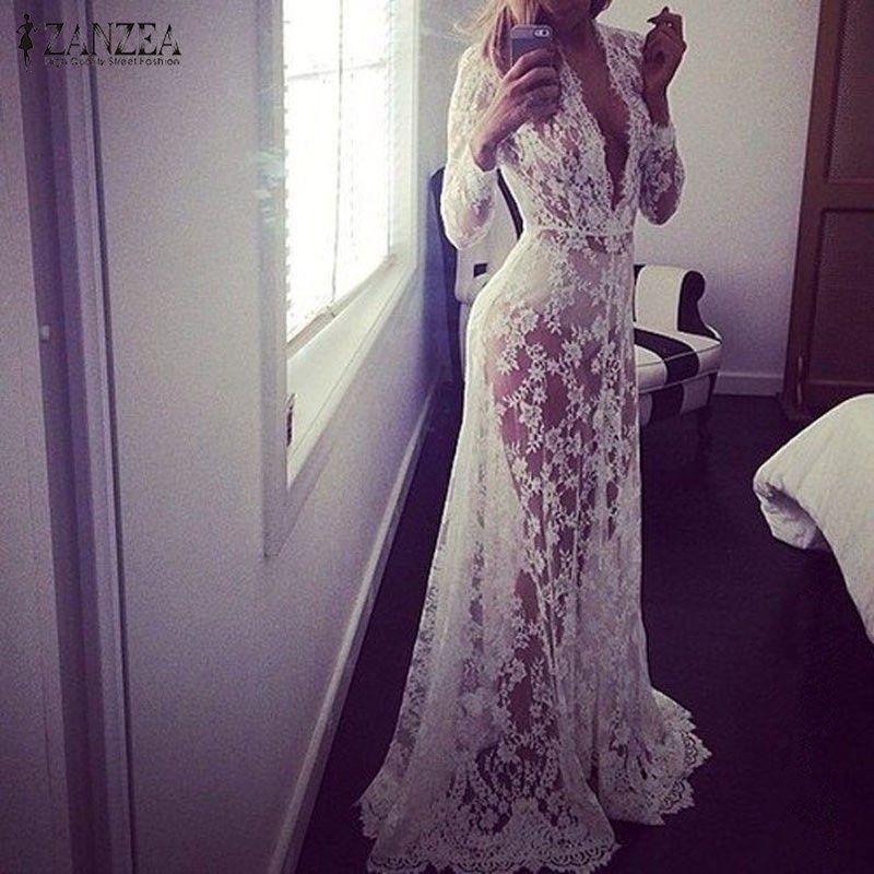 2019 été européenne ZANZEA femmes Sexy dentelle broderie Maxi solide blanc robe à manches longues profonde col en V Vestidos grande taille