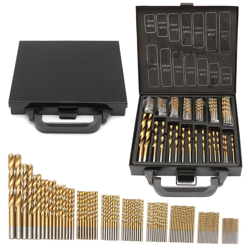 Mila Fer Boîte emballage 99 pièces HSS Forets Hélicoïdaux 1.5-10mm Titane Enduit Surface 118 Degrés Pour Le Perçage du bois