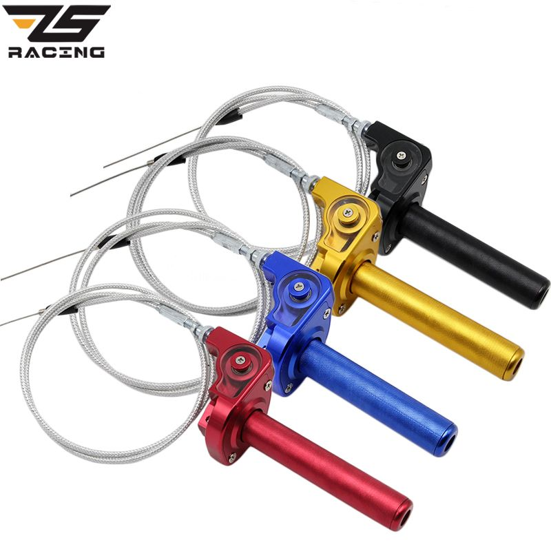 ZS-Racing CNC Aluminum Acerbs Throttle Grip Quick Twister + Throttle Cable CRF50 70 110 IRBIS 125 250 Dirt Bike Motorcycle