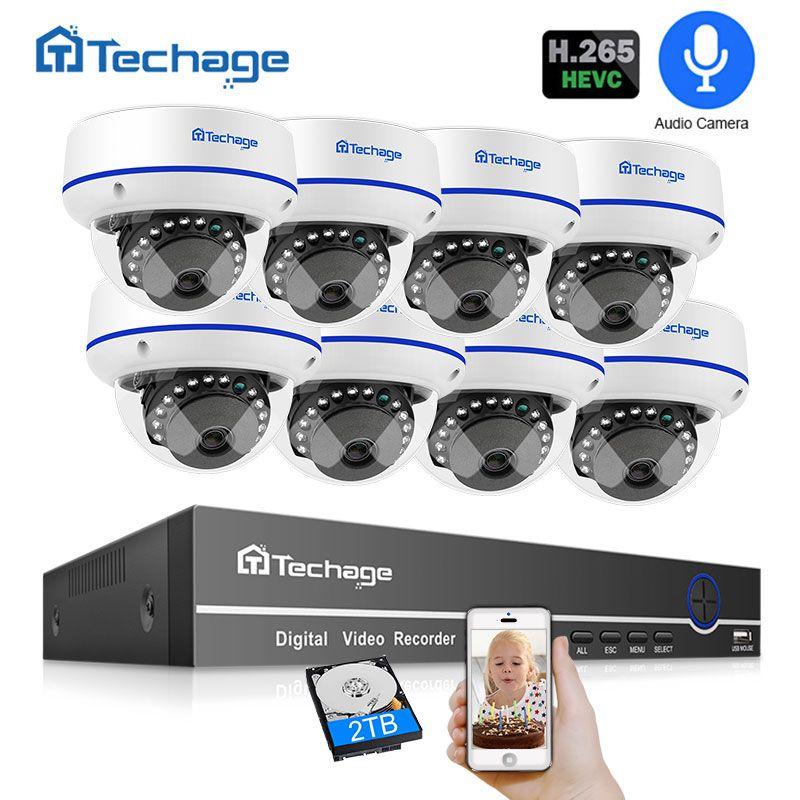 Techage H.265 8CH 1080 P CCTV Sicherheit System 2.0MP POE NVR Kit Audio Dome Indoor POE IP Kamera P2P ONVIF video Überwachung Set