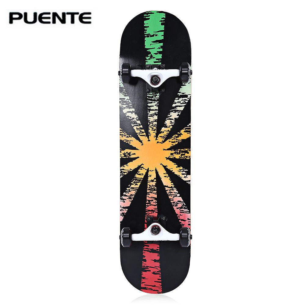 PUENTE Double Snubby Maple Skateboard Longboard 602 ABEC - 9 Four-wheel Bearing SkateBoard 5 Colors for Entertainment