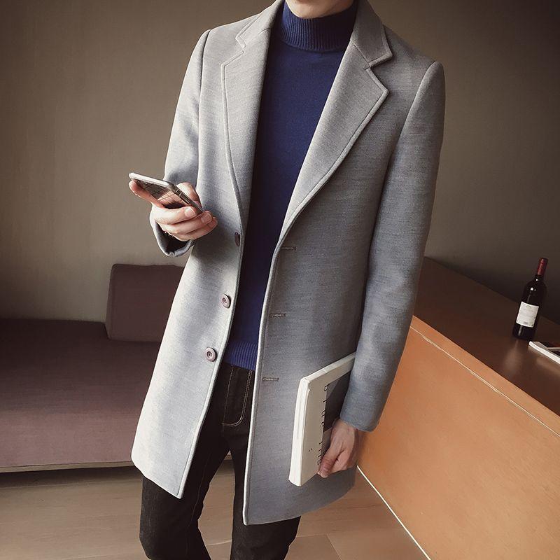 LINKS ROM Männlichen winter hochwertigen wärme slim Fit Cashmere mantel/männer reine farbe revers freizeitjacke/trenchcoat Große größe S-5XL