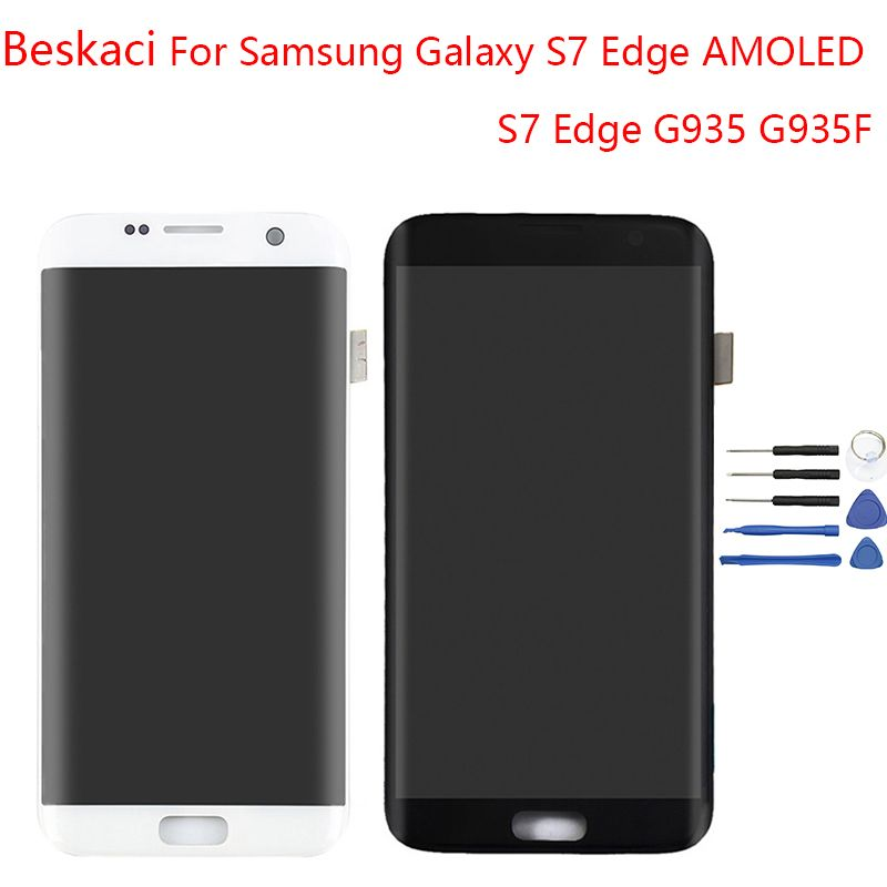 Beskaci AMOLED S7 Edge Display For Samsung Galaxy S7 Edge Display LCD Screen With Frame For Samsung G935F Display Touch Screen