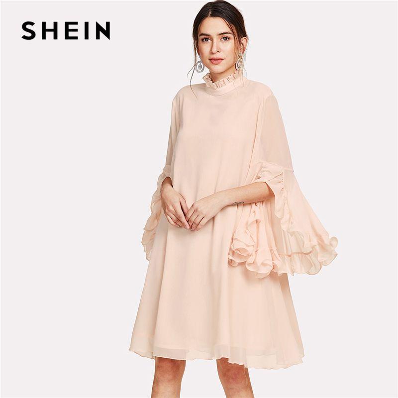 SHEIN Frill Sleeve And Cuff Flowy Dress 2018 Summer Pink <font><b>Stand</b></font> Collar Dress Women Knee Length Casual Chiffon elegant Dress