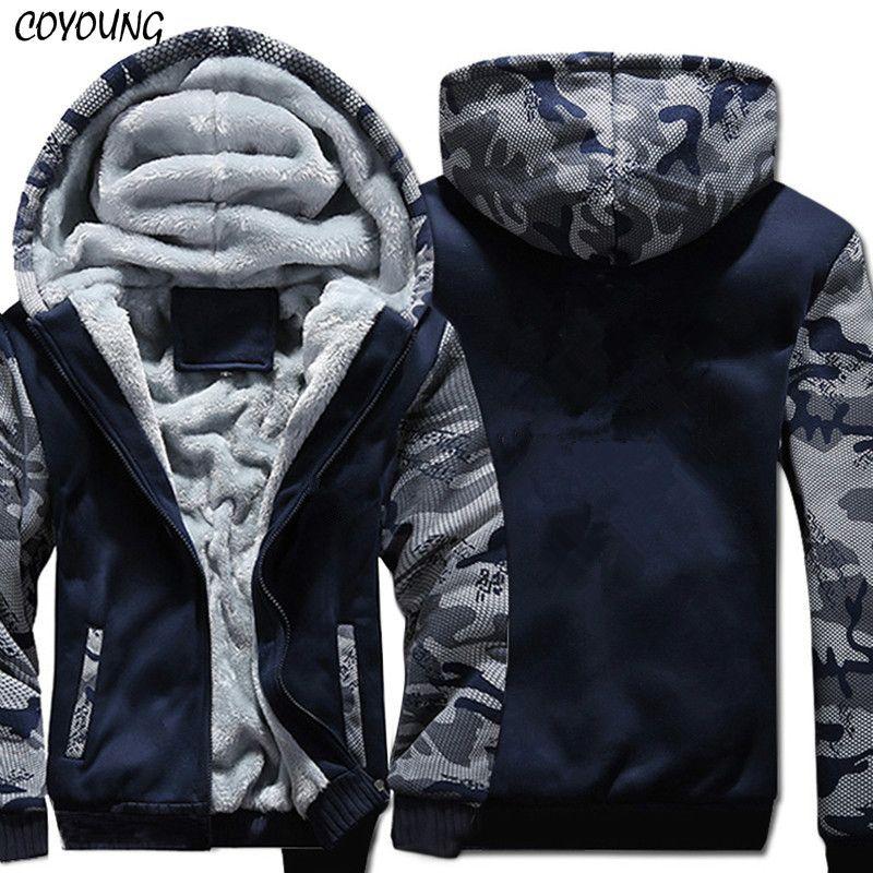 USA SIZE Super Warm Hoodies Sweatshirts Winter Thicken Fleece Camouflage Men's Jackets Zipper Hooded Coats Clothes New