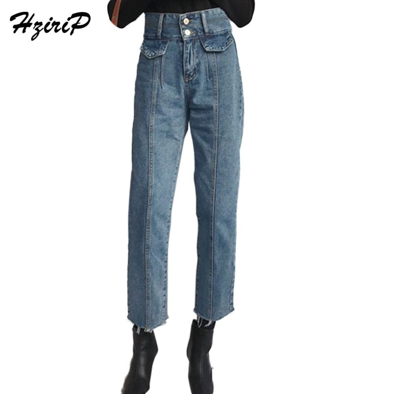 Hzirip nueva llegada mujeres otoño Vaqueros harem flojo Vaqueros azul alta cintura denim vintage tobillo longitud Pantalones femenino más tamaño s-L