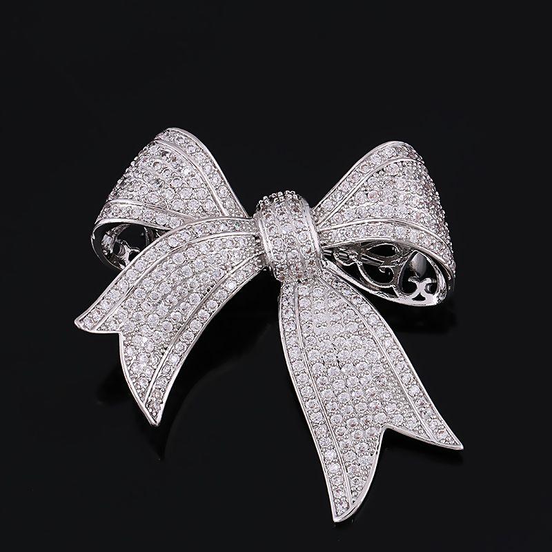 Top Qualité Cubique Zircone Arc Cravate Cuivre Broche Pour Les Femmes De Couleur Argent ou Or Couleur Plaqué