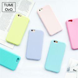 Macarons del caramelo color TPU silicona mate para iPhone 6 6 s 5 5S se 8 más x 10 7 7 más cubierta trasera suave capa fundas