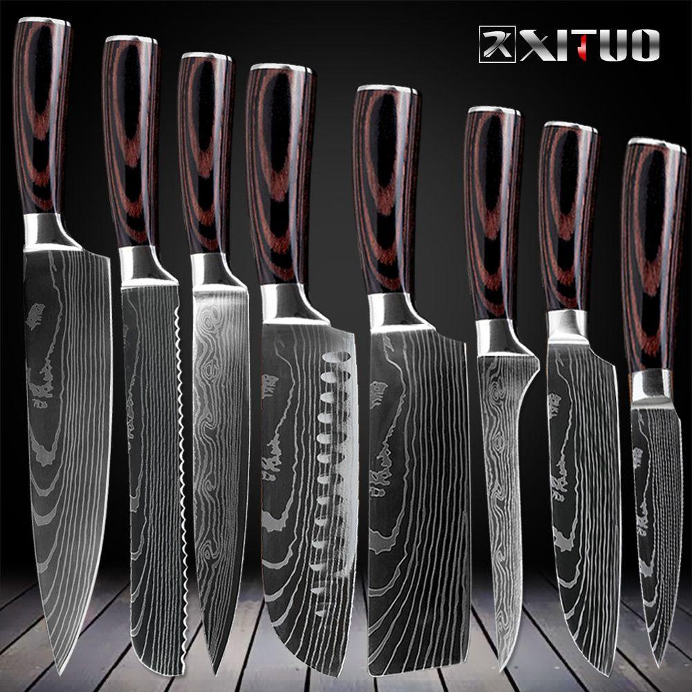 Set de couteaux de cuisine XITUO 8 pouces japonais 7CR17 440C acier inoxydable à haute teneur en carbone damas modèle Laser outil de tranchage Santoku