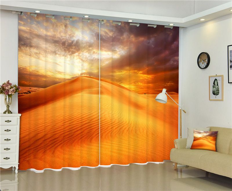 2017 Sahara Desert 3D Blackout Curtains For Living room Bedding room Decor Tapestry Wall Carpet Drapes Cotinas