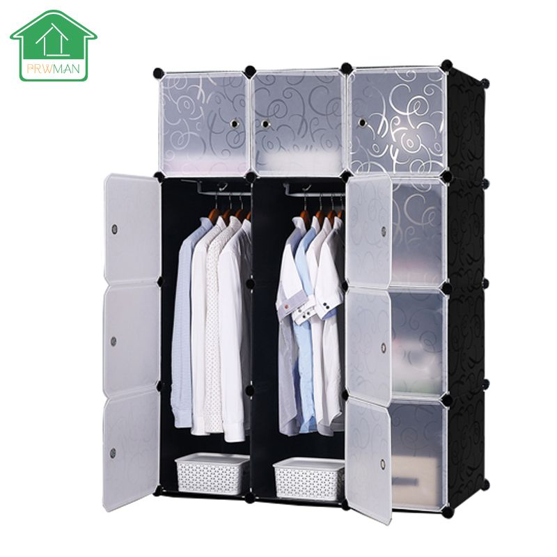 PRWMAN Black Floral Print Furniture Clothes Wardrobe DIY Magic Piece of Resin Storage Cabinets Simple Assembled Resin Wardrobe