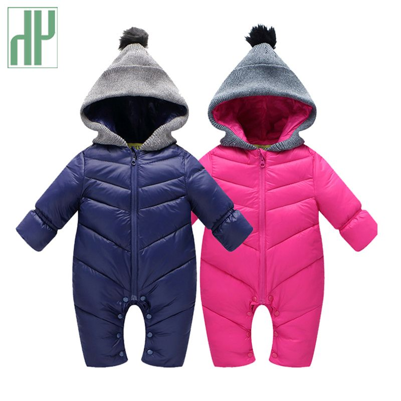 HH Newborn Baby winter clothes Baby snowsuit cotton down Rompers windproof new born girl boy Warm winter rompers with fur Hooded