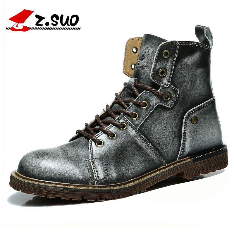 Z. suo Retro Silber herren Stiefel Aus Echtem Leder Military Boots Tactical Stiefeletten Mode Werkzeug Männer Botas Leder Schuhe