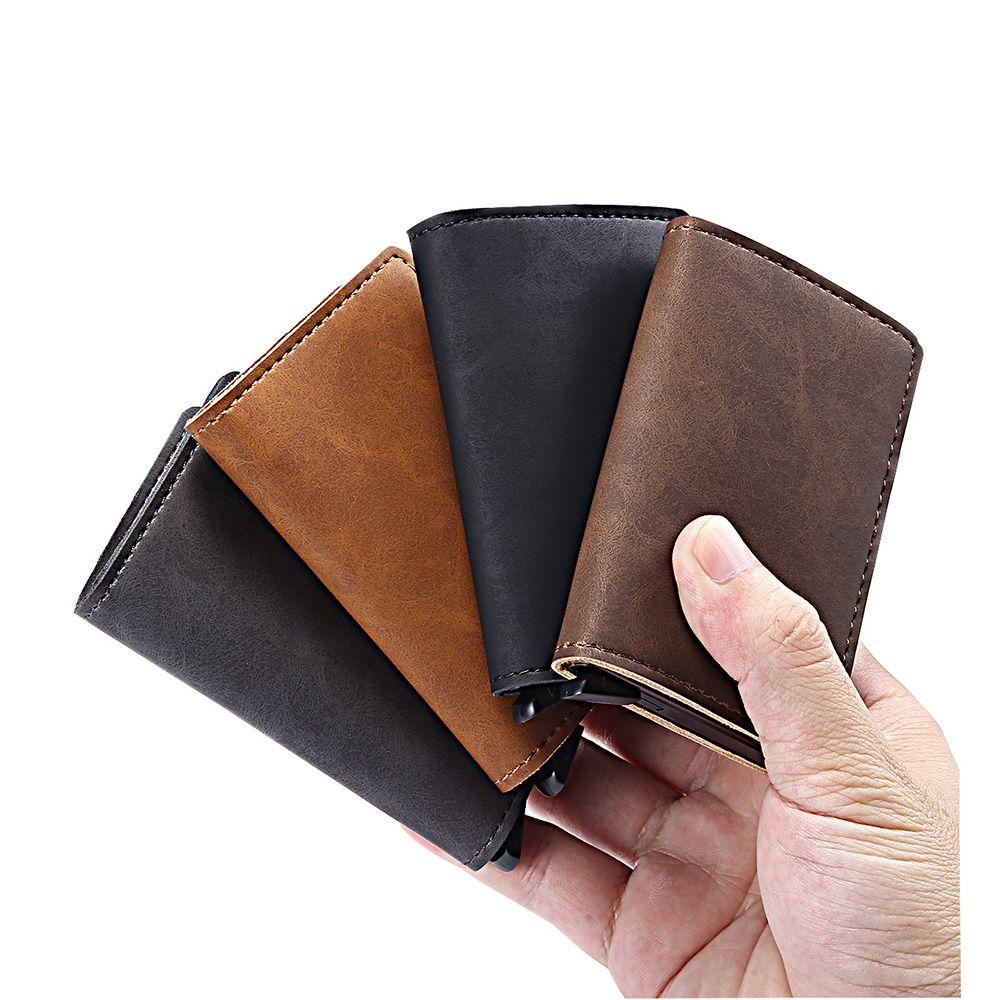 Aucun bouton original d'identification de banque d'affaires automatique pop up métal portefeuille porte-cartes de crédit rfid bloquant le boîtier en aluminium sac
