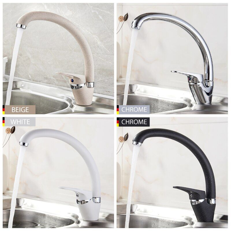 LEDEME Kitchen Faucet Bend Pipe 360 Degree Rotation with Water Purification Features Spray Paint Chrome Single Handle L5913