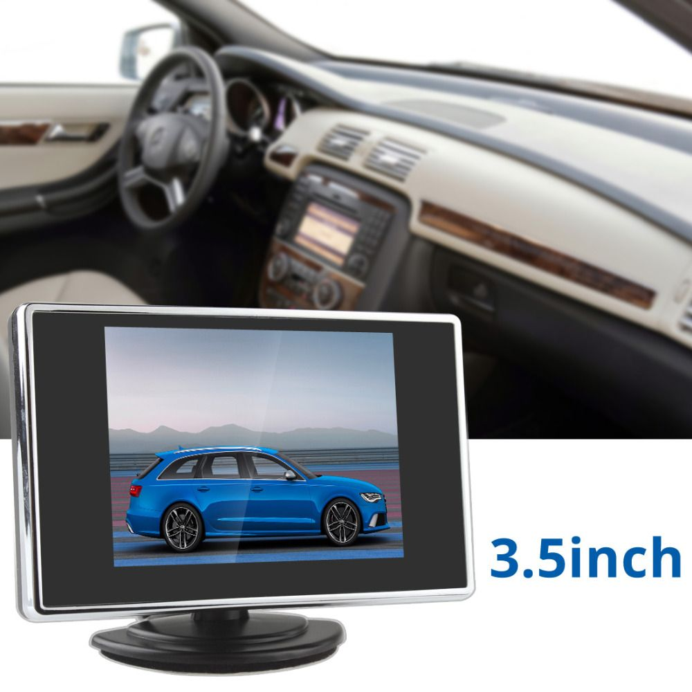 3.5 Inch Pocket-sized TFT LCD Color Car Rear View Monitor Auto Parking Rearview Reverse Backup Monitor 2 Video Input