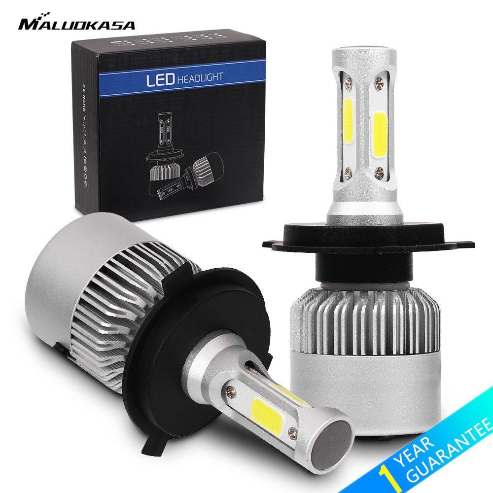 MALUOKASA 2PCs S2 H7 H4 LED Bulb Car Headlight H11 H1 H13 H3 H27 9005/HB3 9006/HB4 9007 Hi-Lo Beam 72W 8000LM Auto Headlamp LEDs