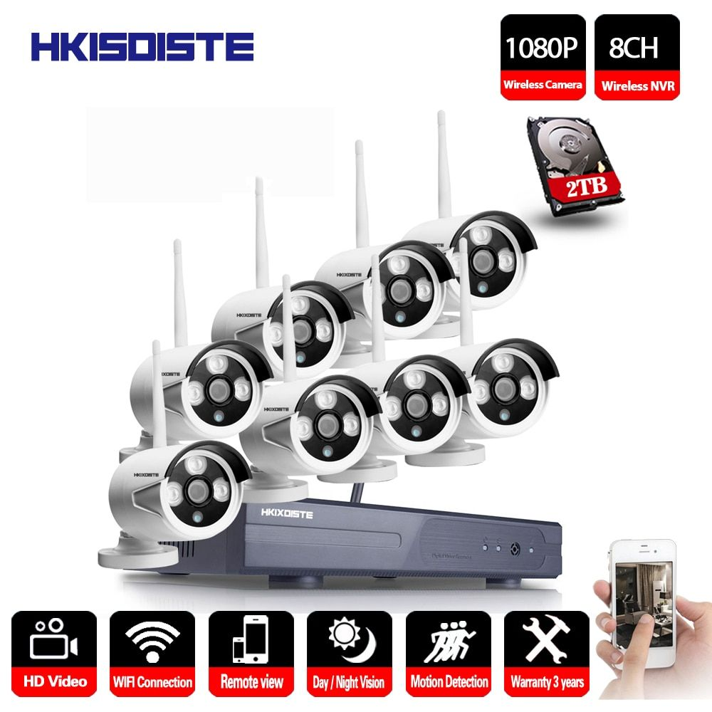 2MP CCTV System 1080P 8ch HD Wireless NVR kit 1TB HDD Outdoor IR Night Vision IP Wifi Camera Security System Surveillance