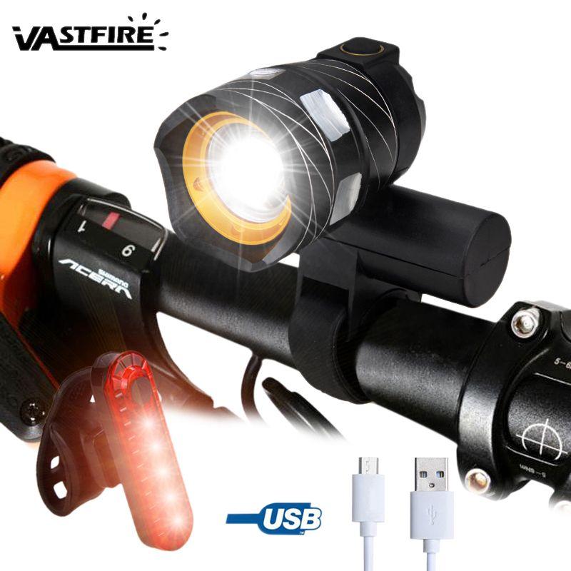 15000LM Lampe de vélo T6 LED USB Ligne Lumière Arrière Réglable Vélo Lumière 3000mAh Batterie Rechargeable Zoomable Avant Vélo Phare Lampe