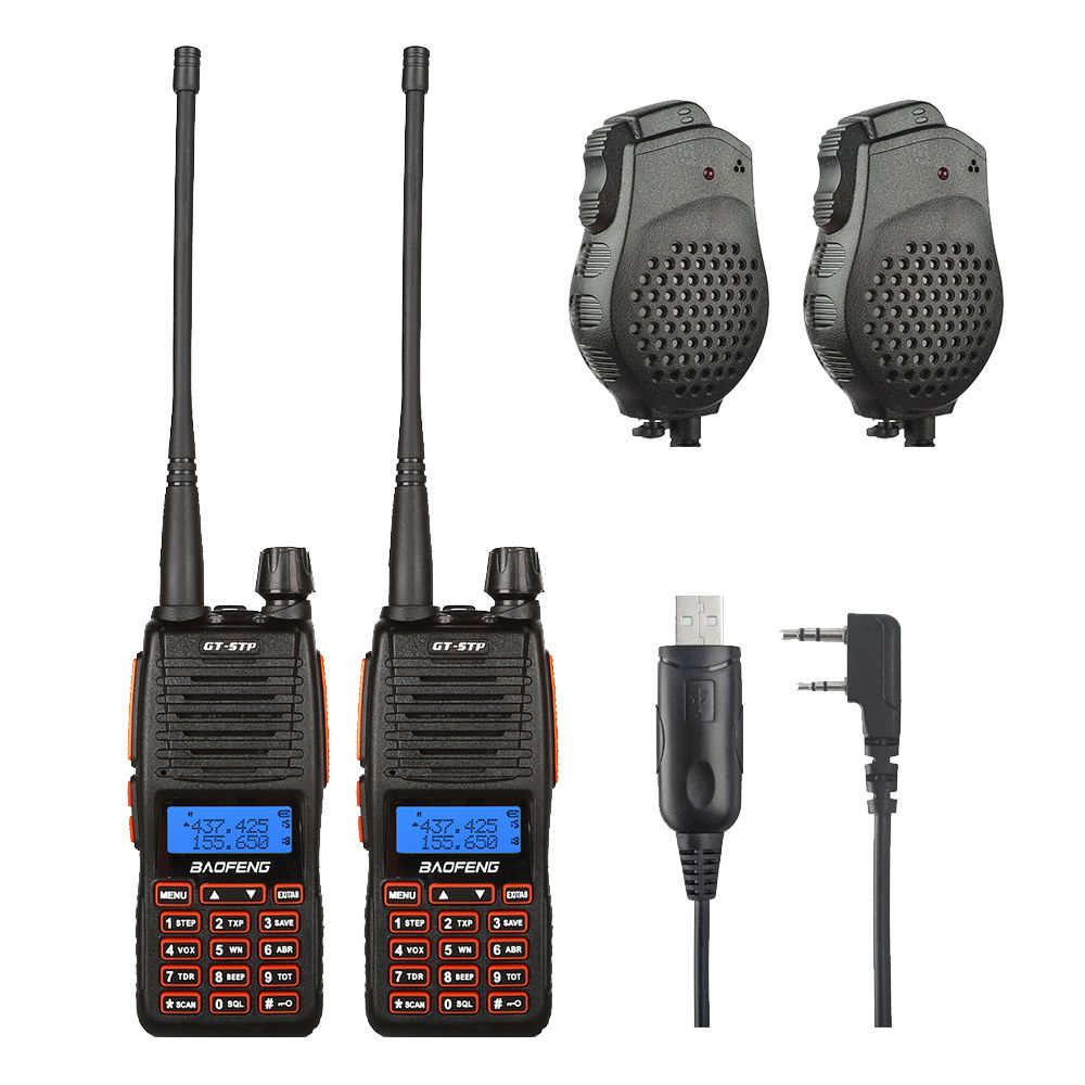 2x Baofeng GT-5TP VHF/UHF Dual Band Ham Walkie Talkie Two Way Radio + 2x Dual PTT Speaker + 1x Win10 Supported Cable 1/4/8W