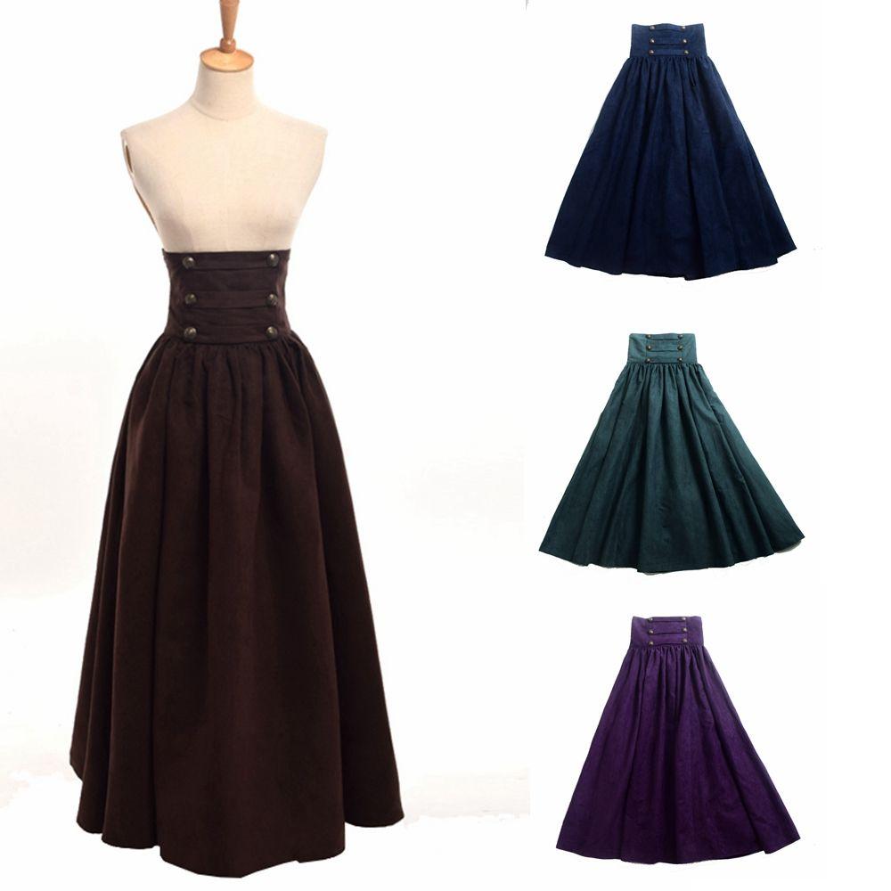 Femmes Steampunk Jupe Vintage Gothique Taille Haute À Double Boutonnage Maxi Longue Marche Victorien Renaissance Jupes