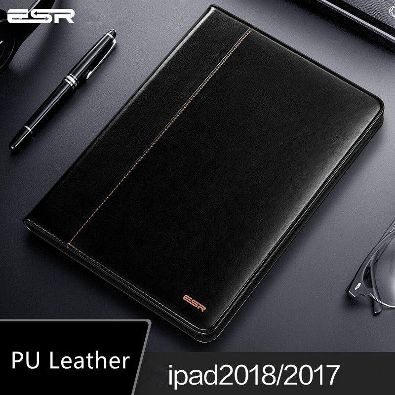 Case for iPad 9.7 2018 NEW model, ESR Premium PU Leather Business Folio Stand Pocket Auto Wake Smart Cover for iPad 2017 9.7 new