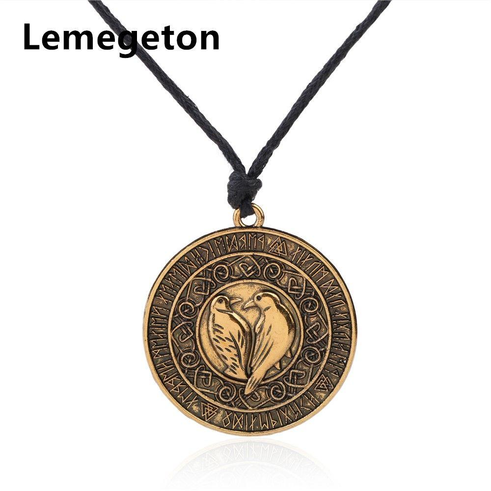 Lemegeton Wicca Nordique Viking Rune Corneille Joint Nordique Talisman Guerrier Antique de Charmes Hommes Colliers Valkyri Amulette Bijoux Faire