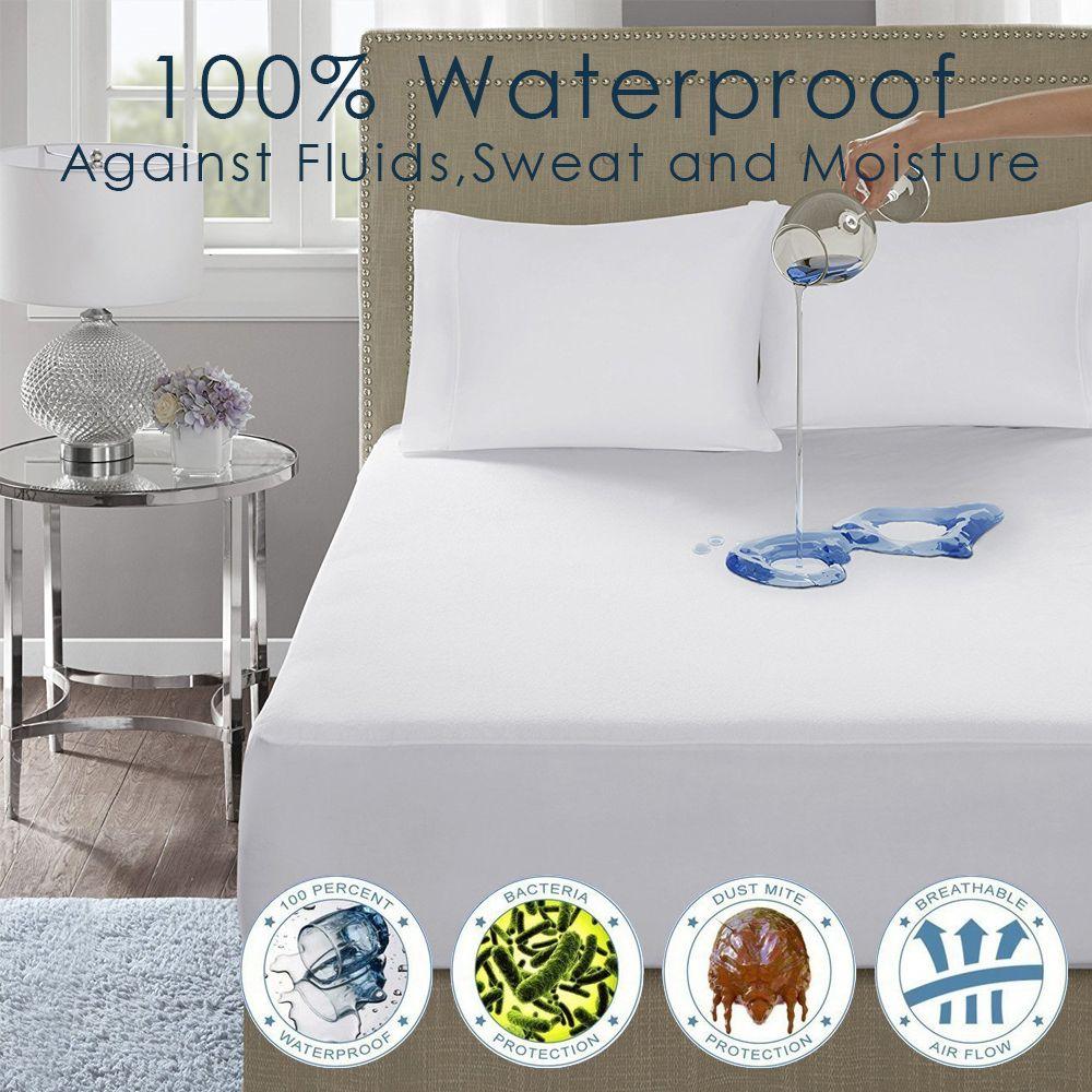 LFH 140X200CM écologique 100% imperméable à l'eau lisse polyester couverture de matelas rembourré couverture de matelas antibactérien couverture de lit