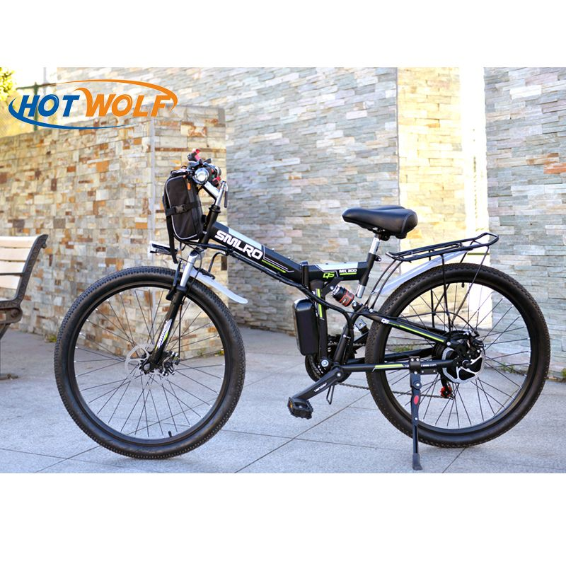 Electric Bicycle Powerful Electric Bike front bag 48V 12AH 500W mountain eBike 24 Speed  Electric Bike Russia free shipping