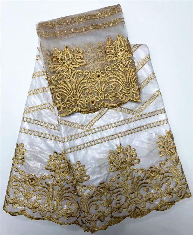 Couleur blanche brodée bazin riche getzner avec tulle dentelle tissu africain Bazin tissu pour les femmes robe
