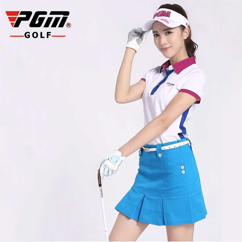 PGM Golf Pleated Skirt For Women Cotton Anti-emptied Breathable Hidden Zipper Ladies Golf Sports Skorts Free Shipping
