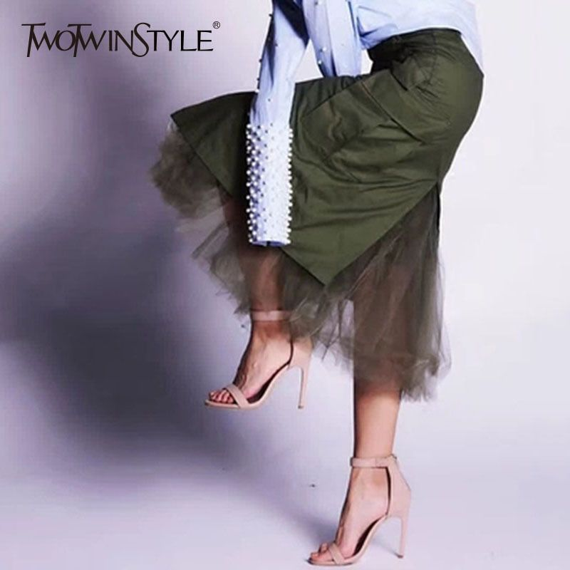 TWOTWINSTYLE Tulle Patchwork Skirts For Women Autumn Split High Waist Packet Hip Skirt Female Midi Long Casual Clothing Fashion