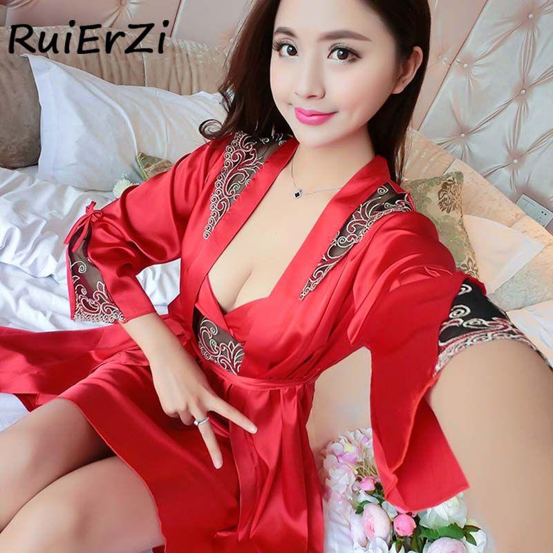 Женские имитация шелка ночная рубашка с принтом пикантные темперамент женщины Повседневное дома ночной халат платье Высокое качество пижа...