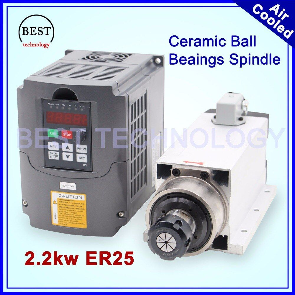 New Arrival! 2.2kw ER25 air cooled spindle 4 pcs bearings 220v Ceramic ball bearings with flange & 2.2kw Inverter VFD