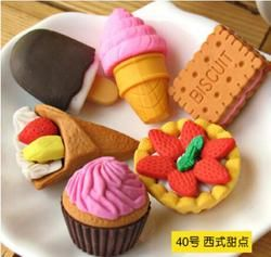 4 unids/lote azar Gomas goma de borrar papelería nueva torta/fruta/animal/verduras en forma fuentes de escuela lindas creativas para niños