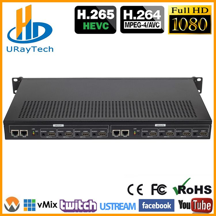 1U Rack HEVC H.265 H.264 HDMI Video Stream Encoder Live-Streaming HD IPTV Encoder 8 Kanäle HDMI Zu HTTP RTSP RTMP Encoder
