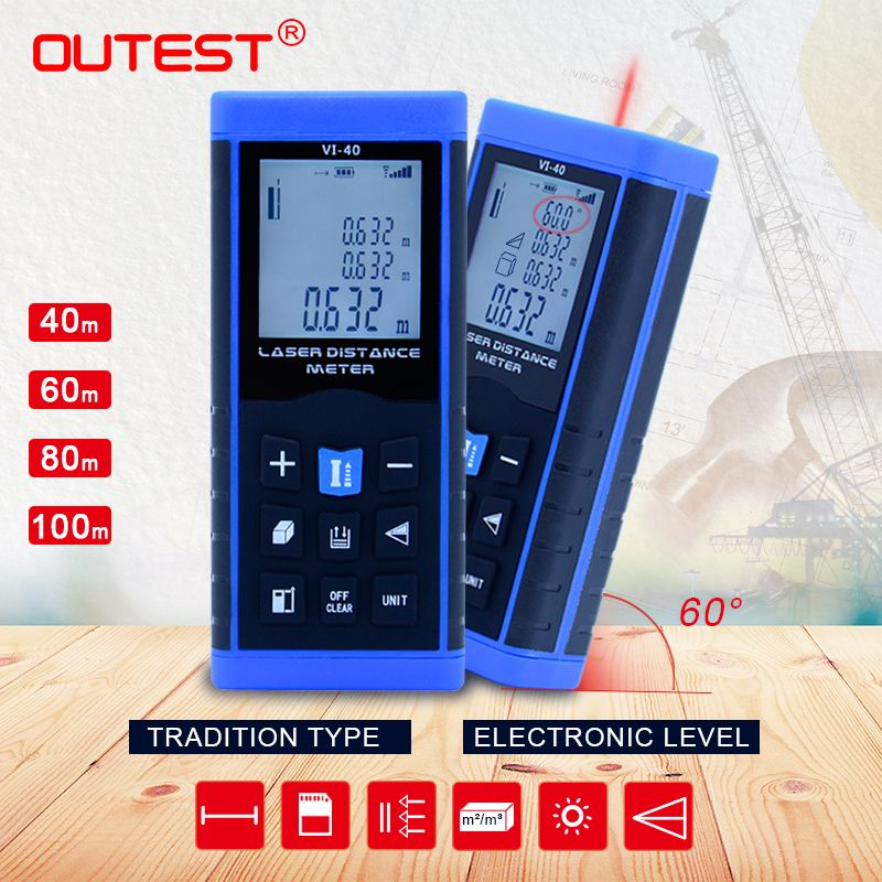 OUTEST Mini Laser Distance Meter 40M 60M 80M 100M Rangefinder Trena Laser Tape Rangefinder Build Measure Device Ruler Test Tool